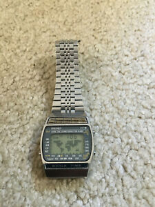 Seiko World Time-Digital Watch-A239-Stainless-Made in Japan-VINTAGE