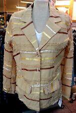 Damen-Blusen-Jacke 42 oder 44 beige mit Satinstreifen Baumwolle 30° Wäsche