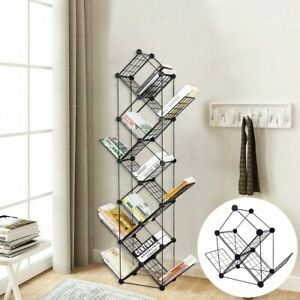 Standing Grid Bookshelf High Quality Book Organizer Durable Black Storage Rack