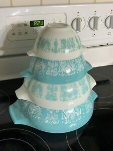4 pc set Vintage Pyrex Turquoise Amish Butterprint Cinderella's 441 442 443 444