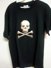 Puffy style Skull print on a black T-shirt, 50% cotton poly Mens (S) small