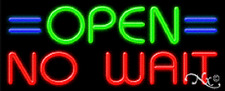 """NEW """"OPEN NO WAIT"""" 32x13 REAL NEON SIGN W/CUSTOM OPTIONS 11212"""