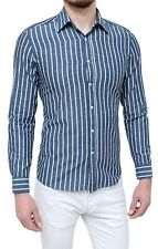 Men's Shirts Diamond Striped Blue Cotton Smart Casual FROM S TO XXXL
