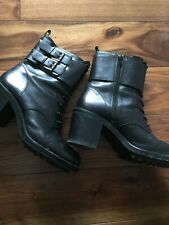 Zara Black Leather Boots Size 7 Eur 40