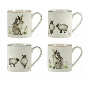 Home Moorlands Set of 4 Animal Porcelain Mugs 330ml Sheep Rabbit/hare Unwanted