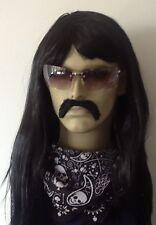 Black Long fancy Dress Wig (The Mexican) &  Droop Moustache Set