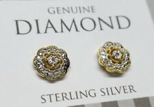 Genuine Diamond 18k Gold 925 Sterling Silver Stud Earrings NOS -us SELLER