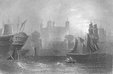 Thames River TOWER OF LONDON ROYAL PALACE CASTLE FORTRESS 1840 Antique Art Print