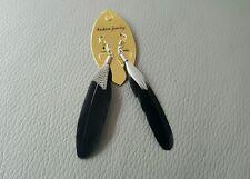 BLACK Handmade Feather Goose Feather Dangle Earrings  UK SELLER