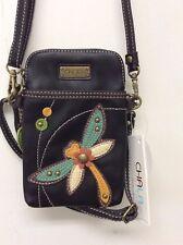 Chala Dragonfly Cell Phone Crossbody Bag Small Convertible Purse Black New