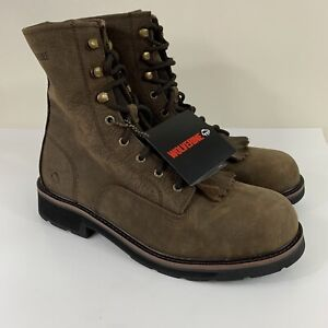 """Wolverine Ranchero Kilt Lacer 8"""" Leather Work Boots W10812 Brown Mens Size 8.5EW"""
