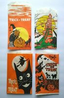 Vintage Halloween Trick Or Treat Candy Bags Haunted Castle Witches Black Cats