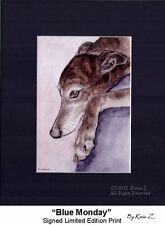 Greyhound Brindle Blue Monday Signed Art Print Artist  Kevin Z Arttogo NEW