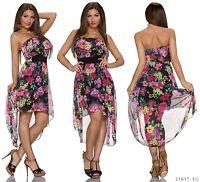 Sexy Vokuhila Kleid Blumen Minikleid Midikleid Bandeau Volants Schwarz 34 36 38