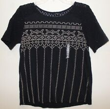 Lucky Brand Womens Navy Blue Cream Cut-Out Lace Design S/S Shirt NWT $69 Size M