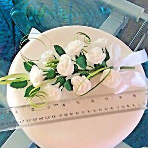 WEDDING CAKE SUGAR LARGE 9 ROSE SPRAY IN WHITE,