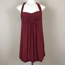 BCBG MAXAZRIA Medium Dress Bubble Hem Halter Neck Red Burgundy Mini