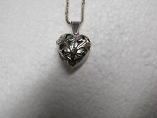 """💛925 ITALY 24"""" BOX LINK NECKLACE w/ J CLAIRE ORNATE HEART LOCKET, VERY PRETTY!"""