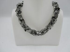 Ladies Black Rutile Quartz Necklace with 925 Silver Clasp BNWT (C727)