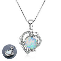 Fashion Wedding Gift Double Heart White Fire Opal CZ 925 Silver Pendant Necklace