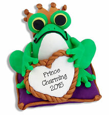 FROG PRINCE Personalized Christmas Ornament Handmade Polymer Clay by Deb & Co.