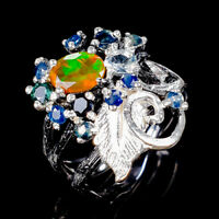 Rainbow7x5mm Natural Orange Opal 925 Sterling Silver Ring Size 7.75/R125185