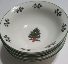 Set of Four Gibson Noel Morning Christmas Tree  Hollies  6.5 inch Bowls