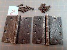 Pair Butt Hinges Faux Hammered Iron Finish w Screws Acorn Warwick Style No.2 VTG