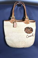 COACH BLEEKER STRAW TOTE BAG - BROWN LEATHER FLOWER & TRIM