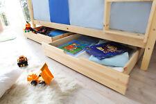 Schubkasten Set Bettkasten Marcel auf Rollen für Kinderbetten Kiefer Natur