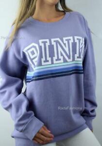 Victoria's Secret PINK Campus Crew Fleece Oversize Ombre Stripe Logo Sweatshirt