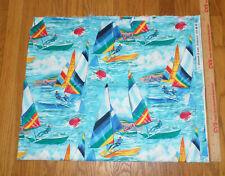 "Rare Sailboats Sail Boats Cotton Fabric -34"" x 42"""