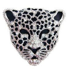 Navachi Hollow-out 18K White GP Cheetah Leopard Head Crystal Pin Brooch BH7758