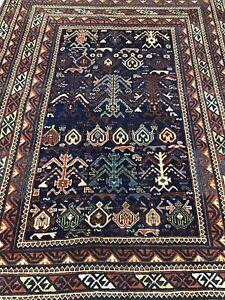 """Mythical Antique Kilim Tree,Wolf,Elibelinde,Earthy Indigo Wool Rug,71"""" Carpet"""
