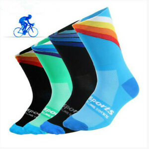 Mens Professional Bicycle Cycling Riding Socks Sports BikeBreathable US