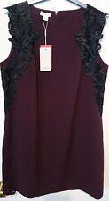Monsoon Margreeth Dress UK16 Burgundy with black floral bnwt