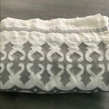 Pottery Barn Kids Gray Embroider Trim White Organic Standard Crib Bed Skirt Baby