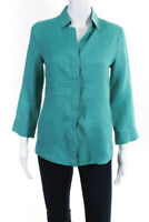 Armani Collezioni Womens Button Down Long Sleeve Blouse Shirt Blue Linen Size 6