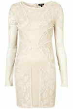 Topshop Bead and Lace Bodycon Mesh Nude Size UK 8