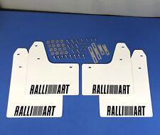 rallyflapZ Mitsubishi Lancer Evo 5-6 Mud Flaps Kit White Ralliart Black 4mm PVC