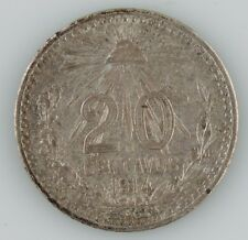 1914 Mexico 20 Centavos Coin Almost Uncirculated AU Mexican Silver