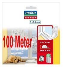 100 m Fensterdichtung 0,46€/m Tür-Dichtung P-Profil weiß selbstklebend NEU