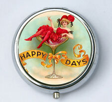 Happy Days pill case pillbox holder pill boxes victorian flapper cocktail