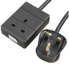 15M Extension Lead Single Socket 1 Gang Way Mains Lead  Cable BLACK 1G 15 Metre