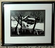 VINTAGE BLACK & WHITE WINTER SCENE ART PRINT PICTURE, SIGNED O SANDBERG