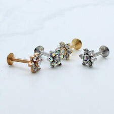 SIMULATED DIAMOND SILVER YELLOW ROSE GOLD IP FLOWER CARTILAGE 8MM STUD LABRET