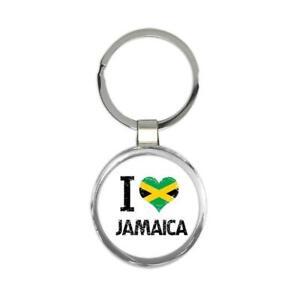 Gift Keychain : I Love Jamaica Heart Flag Country Crest Jamaican Expat