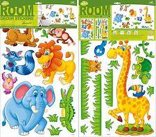Dekosticker Safari Wandtattoo Aufkleber Wandsticker Zoo Tiere für Kinder Neu