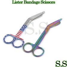 "Nurse Scissors Lister Bandage Shears 5.5"" Usa Flag + Multi-Color Scissors"