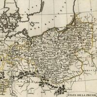 Poland Prussian states 1804 Tardieu scarce map old hand color Baltic Sea